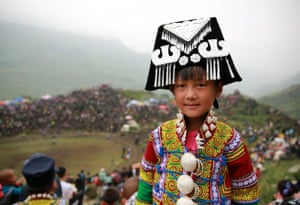 Liangshan Yi Autonomous Prefecture, China A Yi girl wears national dress during the annual Torch Festival