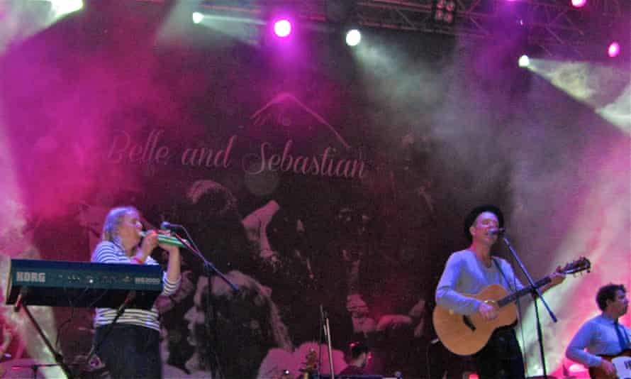 Belle and Sebastian on stage in Istanbul in 2013.