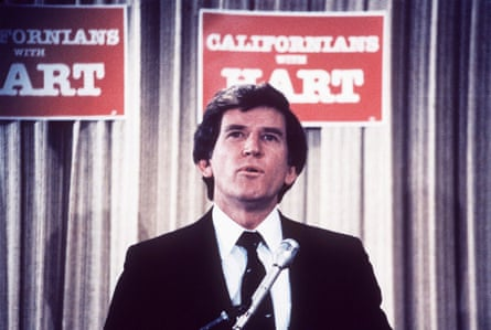 Gary Hart speaking at a campaign rally in March 1984.