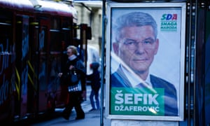 Election poster of Šefik Džaferović, presidential candidate for the Bosniak nationalist SDA, who has attacked the Croatian president for alleged interference.
