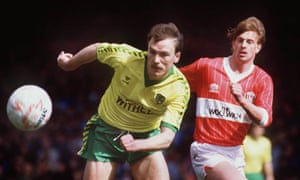 Mike Phelan and Jim Melrose in action during Charlton's 1-0 win at Carrow Road in March 1986.