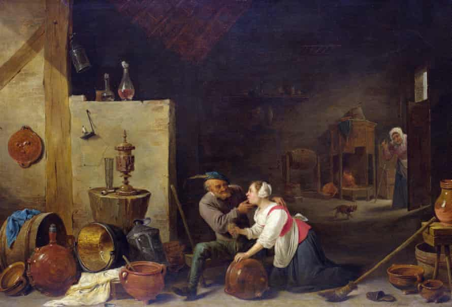 David Teniers the Younger, An Old Peasant Caresses a Kitchen Maid in a Stable, about 1650.