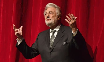 Spanish opera singer Placido Domingo speaks onstage in 2018
