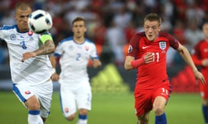 Jamie Vardy in action for England in the final Euro 2016 group B game against Slovakia.