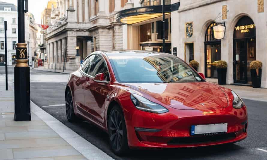 Tesla Model 3 parked on New Bond Street, London