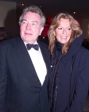 Albert Finney and wife Penelope Delmage arrive at The Odeon Leicester Square for the BAFTA Awards on 25 February 2001