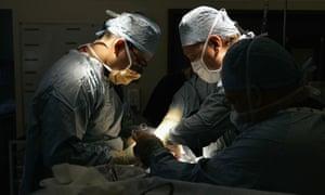 A kidney transplant operation