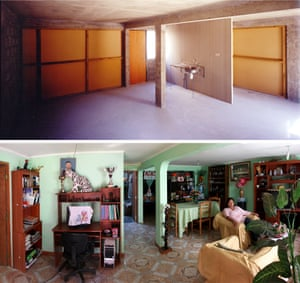 The interior of a 'half house' by Aravena, before and after.