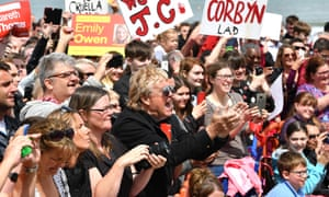 Supporters applaud as Labour party leader Jeremy Corbyn arrives to speak in Colwyn Bay, Denbighshire, on Wednesday.