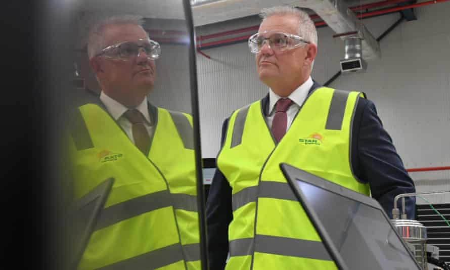 Prime minister Scott Morrison visits Star Scientific, a hydrogen research facility in Berkeley Vale, Central Coast NSW, April 21, 2021.