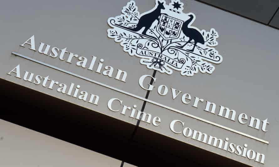 The Australian Crime Commission sign is seen at its headquarters in Canberra