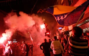 Bosnia fans in the Bosnian capital of Sarajevo celebrate after their team's 1-0 victory in their 2014 World Cup qualifying match against Lithuania.