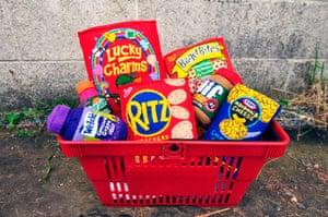 An American basket of groceries - in felt