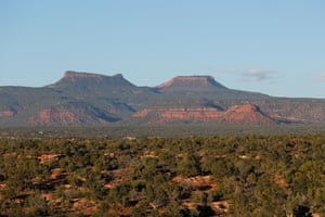 The two bluffs known as the 'Bears Ears'. The newly created Bears Ears National Monument and the Grand Staircase-Escalante National Monument, are under review by the Trump administration.