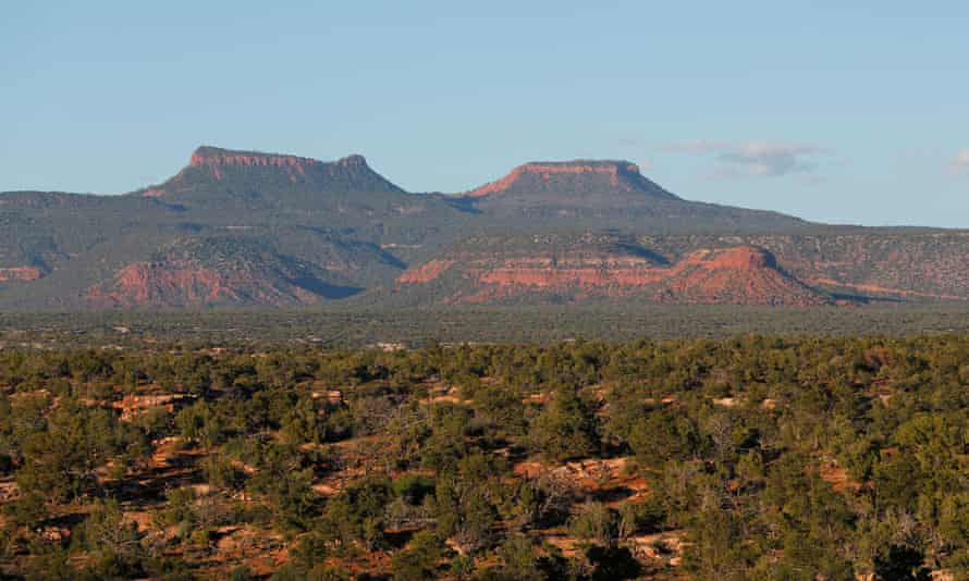 The two bluffs known as Bears Ears at sunset in the Bears Ears national monument. Donald Trump's interior secretary is seeking to shrink the monument.