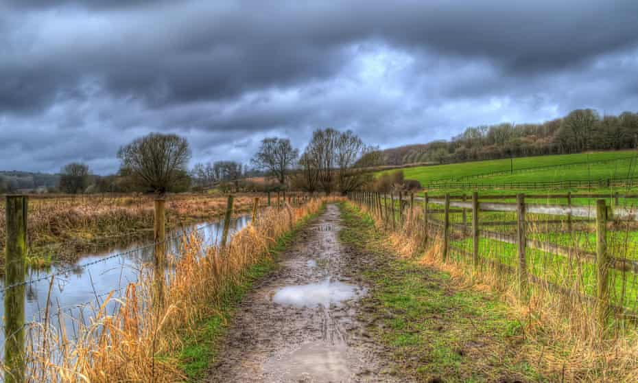 a muddy path in the Chess Valley.