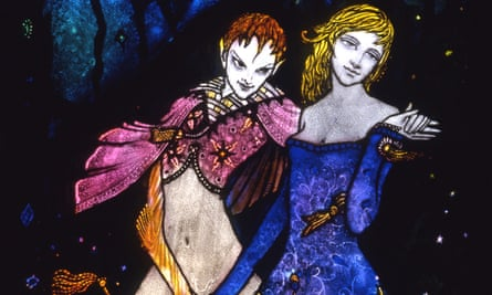 Detail from Harry Clarke's Geneva panel, which offended President William T Cosgrave.