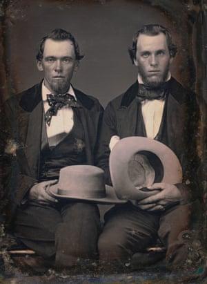 Photographer: Robert H Vance. Portrait of two unidentified brothers holding hats c. 1850 Daguerreotype
