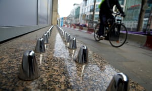 Anti-homeless spikes installed outside a department store in Manchester city centre, in 2015.
