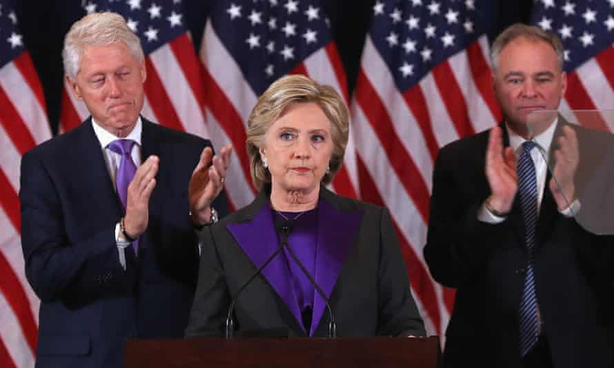 Hillary Clinton in November, flanked by Bill Clinton and running mate Tim Kaine. Clinton says in her new book: 'You can blame the data, blame the message – but I was the candidate.'