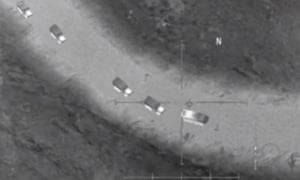 A still apparently from the computer game AC-130 Gunship Simulator: Special Ops Squadron claimed by the Russian defence ministry as 'irrefutable evidence' of cooperation between US forces and Islamic State militants in Syria.