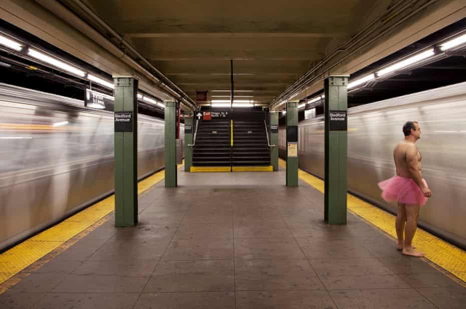 man tutu subway Brooklyn New York City