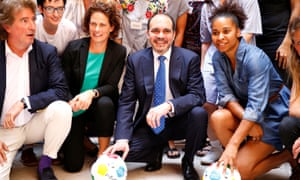 Kelly Lindsey, second from left, and Jordan's Prince Ali bin al-Hussein, at the launch of a campaign to stop abuse, harassment and exploitation in women's football.