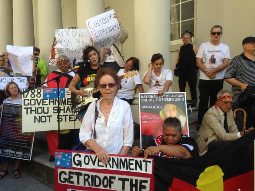 Family and supporters Ms Dhu gathered outside an inquest examining her death in custody, demanding justice for her and an end to Aboriginal deaths in custody.