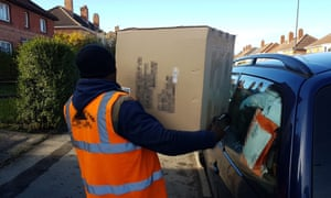 A Black Friday delivery driver, delivering parcels throughout north Bristol. Although he wears a vest branded with a delivery company logo and works to their punishing schedule, he is supposedly self-employed.