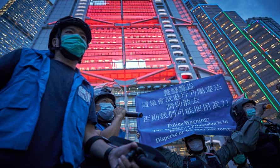 Protesters in Hong Kong outside HSBC's headquarters.