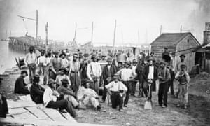 Former slaves working as labourers for the Union war effort at White House Landing, Virginia, 1863