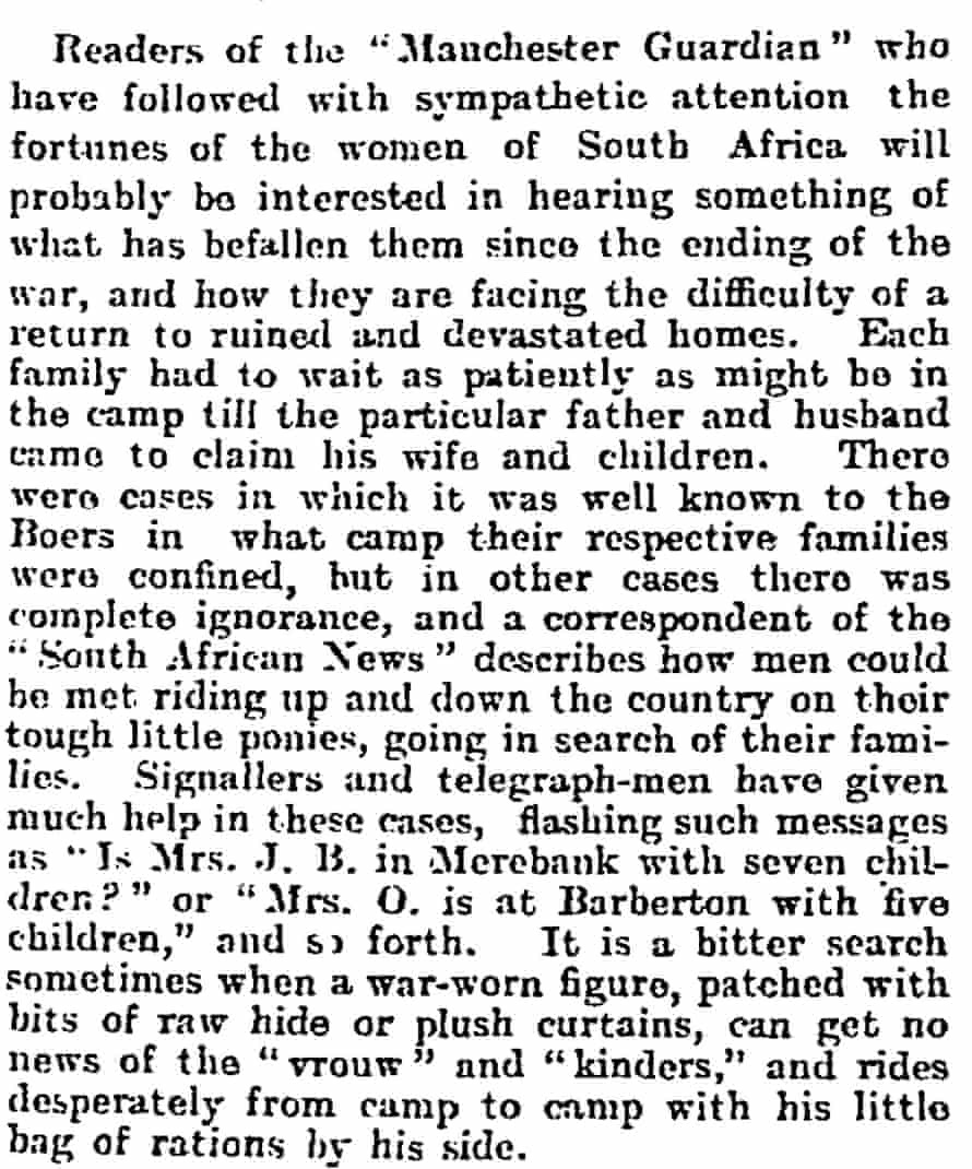 The homecoming of the Boers: extracts from their correspondence. The Manchester Guardian, Oct 31, 1902