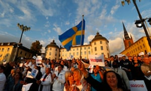 Sweden Democrats party supporters at an election campaign in Stockholm last week
