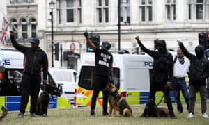 Demonstrators during a Black Lives Matter protest in Parliament Square