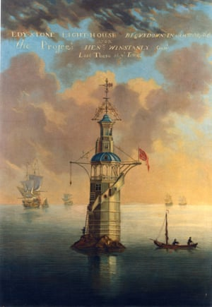 The first Eddystone lighthouse of 1698, designed by mercurial inventor Henry Winstanley. This building was the first of its kind in the world.