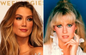 Delta Goodrem at the Logies in 2016; Olivia Newton-John in 1985.