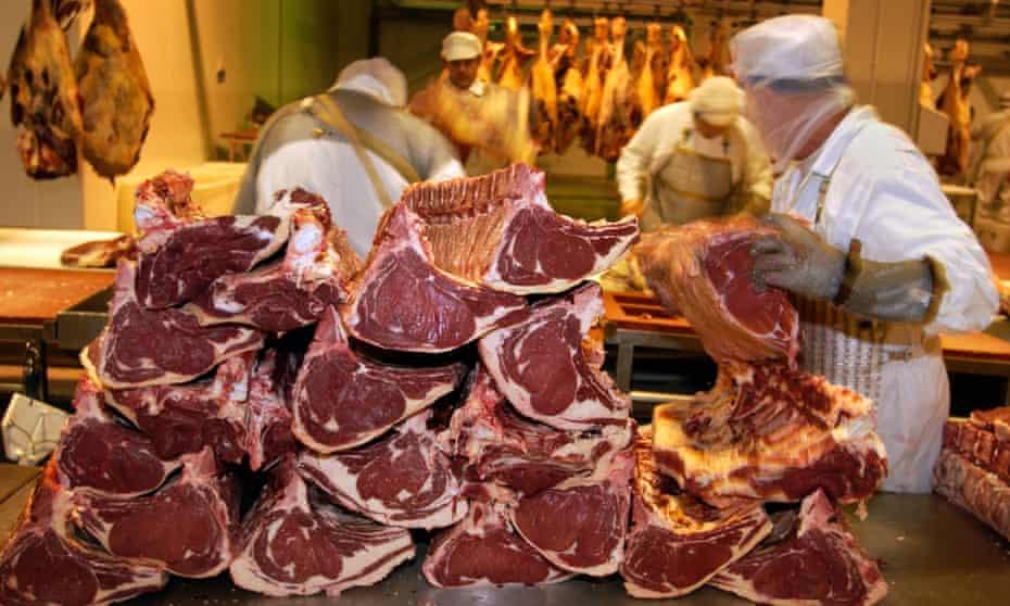Welsh beef being processed in Merthyr Tydfil.