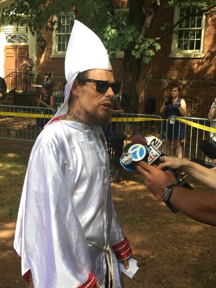 'We're the only organization in America who are fighting for white civil rights,' Douglas Barker, a Klan member from Hampton Bays, New York, told reporters.