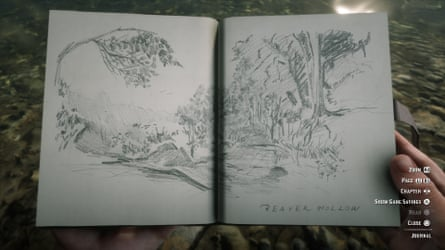 A sketch from Arthur Morgan's notebook in Red Dead Redemption 2