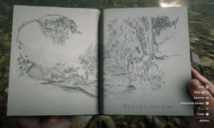 A sketch from Arthur Morgan's notebook in Red Dead Redemption 2.
