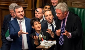 Bercow tries to keep the peace during prime minister's questions, in the House of Commons, in 2018