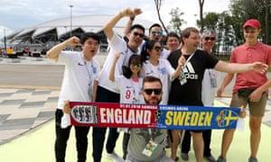 Fans prepare for the match in Samara.