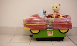A child's ride in The Mall shopping centre in Blackburn, taped up to prevent use during the Covid-19 pandemic.