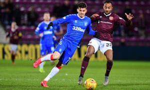 Ianis Hagi and Loïc Damour during Hearts' 1-0 Scottish Cup win over Rangers at Tynecastle on 29 February.