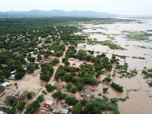 Aerial pictures taken on 14 March of flooded areas around Marka, on the Malawi-Mozambique border.