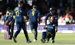 Hampshire's Gareth Berg is collared after taking the wicket of Kent's Sam Billings to seal the match.