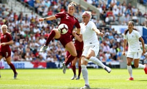 Lucy Bronze, here taking to the air against New Zealand, says the England squad has 'success running through our veins'.