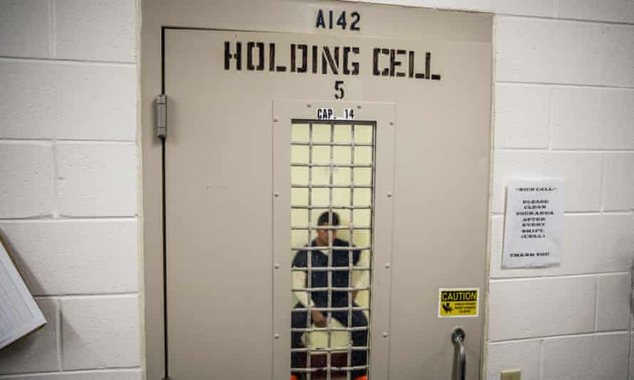 A detainee in a holding cell at an Ice detention centre in Georgia.