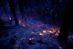 A tract of the Amazon jungle is seen burning near Ouro Preto, Rondonia State