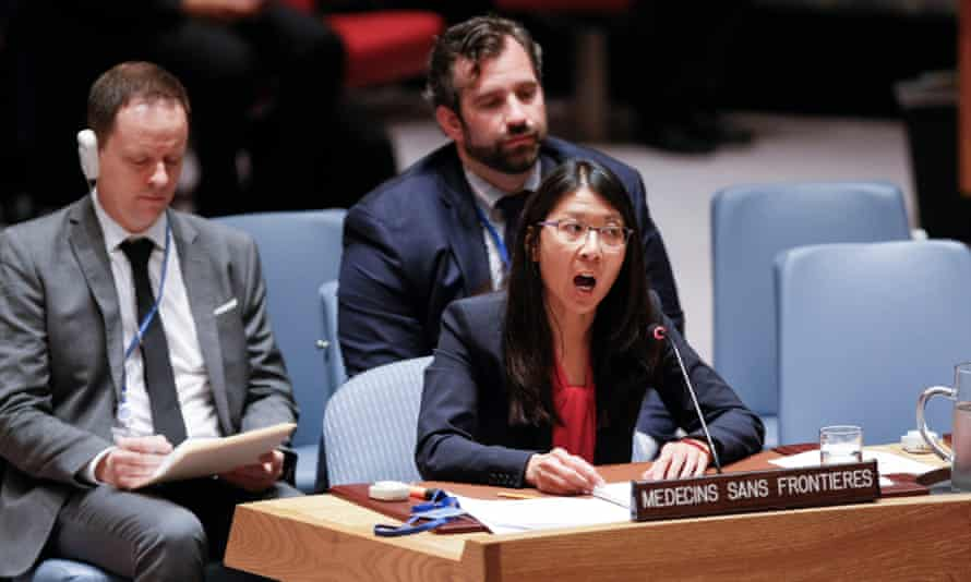 The president of Médecins Sans Frontières, Joanne Liu, addresses the UN security council's debate in New York on protecting healthcare in armed conflict on 3 May 2016.